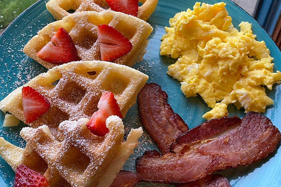 Breakfast waffles at Mamere's B&B in Manmouth, Or